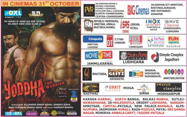 Theaterical Listings for upcoming film Yoddha