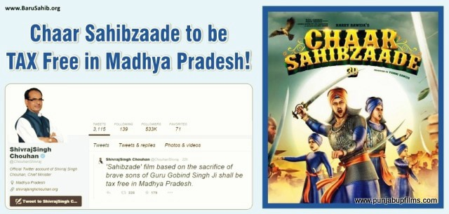 Madhya Pradesh government has declared Movie Chaar Sahibzaade tax free