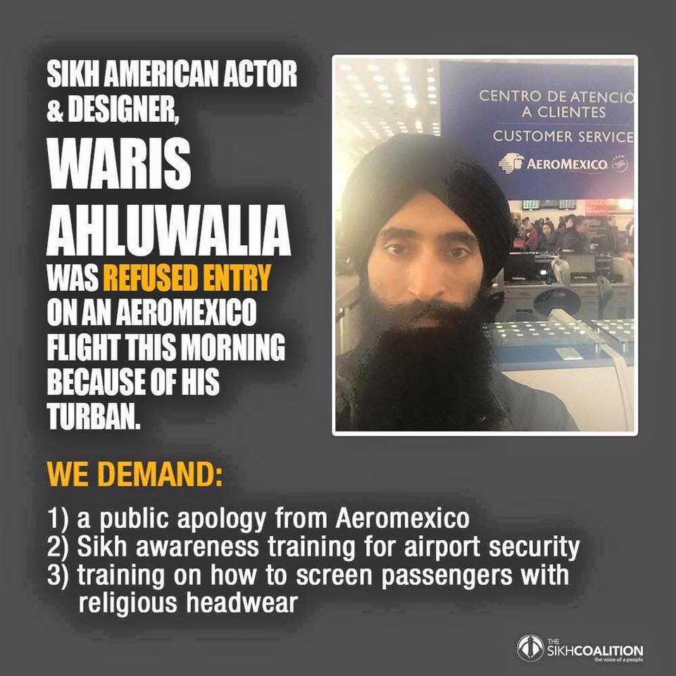 American Sikh actor Waris Ahluwalia denied right to board on AeroMexico flight from Mexico City